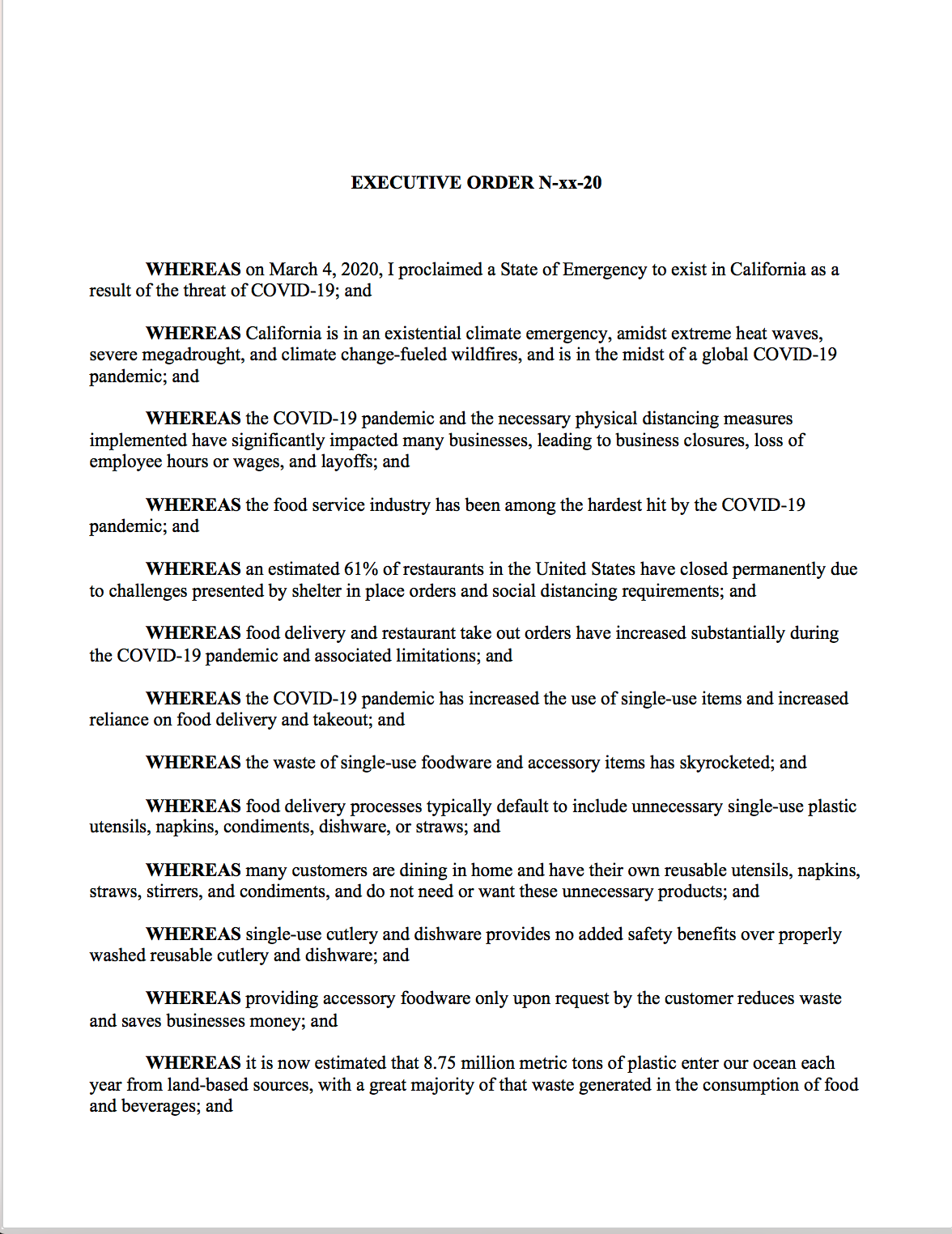 Proposed Emergency Executive Order